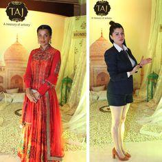 Actress Mughdha Godse and Kainaat Arora at Taj Santacruz #TajCollection #LaunchParty #HomesFurnishings #HomeDecor #HomeFabricCollection #MugdhaGodse #KainaatArora