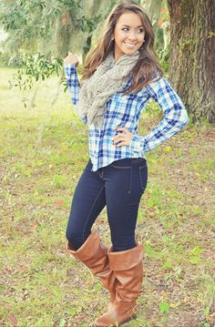 Cute fall outfit. Plaid shirt, scarf, jeans & boots.