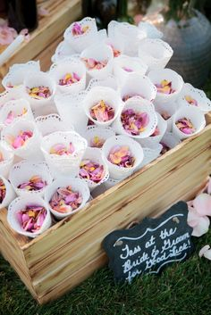 Flower petals in lace cones for tossing--way better than rice or birdseed!