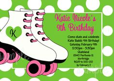 Roller Skating Birthday Party Invitations, Party Decorations, Party Supplies by Cutie Patootie Creations  www.cutiepatootiecreations.com