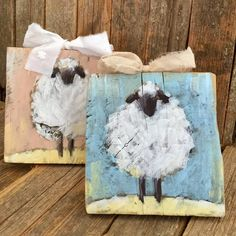 Last two sheep . now in Etsy. Made of fence wood. When you see how your neighbor is building . - Last two sheep … now in Etsy. Made of fence wood. When you see how your neighbor is building … - Arte Pallet, Pallet Art, Sheep Paintings, Animal Paintings, Wood Paintings, Painting On Wood, Painting & Drawing, Rooster Painting, Acrylic Paint On Wood