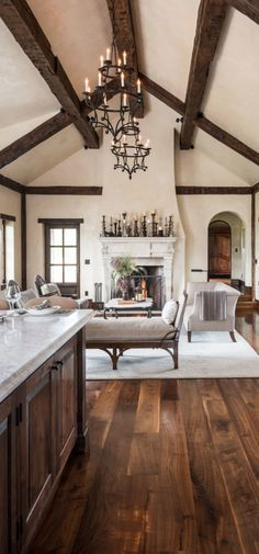 Home Tour :: Urban Rustic in Manhattan. I love everything about this room! I am a sucker for some rustic beams on a high vaulted ceiling! Living Room Paint and Decor Living Room Colors, Living Room Paint, Home Living Room, Diy Home Decor Rustic, Tuscan Design, Tuscan Decorating, Interior Decorating, Interior Design, Living Room Lighting