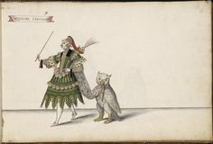Jacqueline L'entendu and an owl--costume sketch for a French Ballet by Daniel Rabel, 1620s