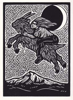 Midnight Ride Over Mount Hood woodcut hand-pulled print Woodcut Art, Linocut Prints, Art Prints, Engraving Printing, Wood Engraving, Traditional Witchcraft, Goddess Art, Scratchboard, Mount Hood