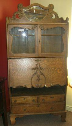 Antique Bed Set Oak Eastlake Spoon Carved Bed Set