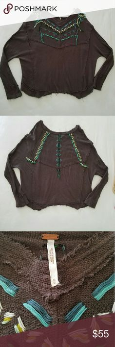 Free People embroidered thermal shirt Unique shirt by Free People. Size Medium but has a very loose, slouchy fit.   No trades please  Will consider reasonable offers Free People Tops Tees - Long Sleeve