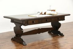 Italian 1890 Antique 7 1/2' Library Writing Desk, Hall or Dining Table, Exorcist