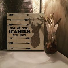 """""""Not all who wander are lost"""" 12 x 12 pallet sign (($35))  {{completely customizable}} #wood #glitter #woodlandnursery"""