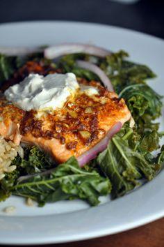 Tandoori salmon with Yogurt sauce.