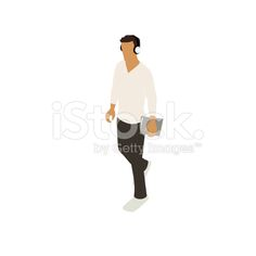 Man walking with notebook illustration royalty-free stock vector art