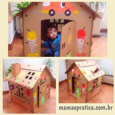 Bom dia mamães, vejam que graça essa casinha de papelão que recebi da Brincando Com Papelão. Filhote adorou e foi super divertido pintar! Detalhes no post de hoje no blog #ficaadica #brincadeiras #filhos #casinha #publipost