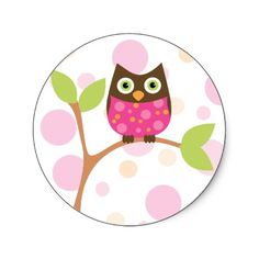 Shop Bright Pink Baby Owl Classic Round Sticker created by candystore. Personalize it with photos & text or purchase as is! Wild One Birthday Party, Baby 1st Birthday, Creation Bougie, Bird Party, Vintage Party, Baby Owls, Personalized Stickers, Cute Cartoon Wallpapers, Illustrations
