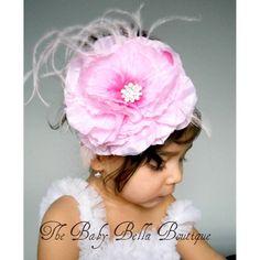 Baby Girl white crochet headband Big pink flower,girl crochet headband,Ready to ship.