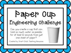 Paper Cup: Engineering Challenge Project Can you create a cup that can hold as much water as possible for at least 10 seconds from just one sheet of paper? Engineering Projects, Stem Projects, Engineering Challenges, Science Classroom, Teaching Science, Classroom Ideas, Stem Teaching, Tattoo Cover Up, Experiment