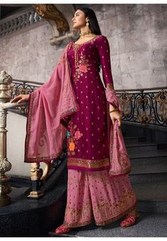 Magenta Dola Jacquard Kameez with Georgette Palazzo and Dupatta Stone Work, Carnations, Salwar Kameez, Palazzo, Magenta, Sari, Pink, Color, Design