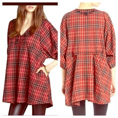 FREE PEOPLE Plaid Stripes Floral Lace Cape NWT NWT AND SOLD OUT EVERYWHERE! Impossible to find FP tunic! Retail $128. Color is Scarlet Combo.  Semi pleated back detail. Striped. Pastel. Embellished. Flannel Plaid. Crochet. Floral. Pleated Maxi Tunic Dress. Lace Free People Tops