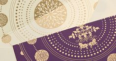 Royalty Purple. Boxed set of 12 flat double sided purple and gold + navy and gold printed blank note cards with matching envelopes. Silk Screened.