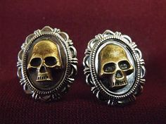 Gothic Bronze and Silver Skull Cufflinks  Mens by AGothShop, $15.00