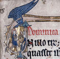 dragon encircling the Entry into Jerusalem. Evangeliary, Cambrai ca. 1266 - Cambrai, Bibliothèque municipale, ms. 189, fol. 1r