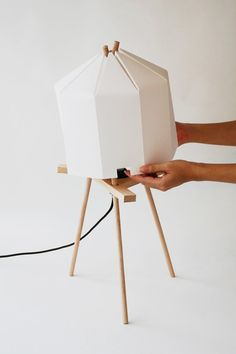 placing shade of Simple yet Elegant Lamp Made of Bamboo Paper