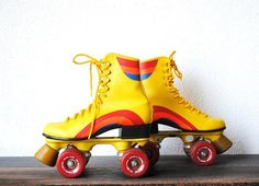 1970s Roller Skates, Retro Yellow & Rainbow Vintage Disco Rollerskates