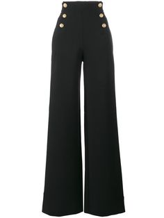 Alberta Ferretti high waisted sailor button trousers Button trousers outfit ideas for women. Kpop Fashion Outfits, Fashion Pants, Look Fashion, Dress Design Sketches, Fashion Design Sketches, Classy Outfits, Stylish Outfits, Fashion Drawing Dresses, Mode Kpop