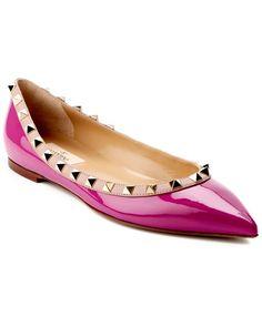 Valentino Rockstud Patent Ballet Flat Pink