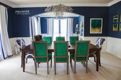 Emerald Green and Navy Dining Room. #emerald #emeralddiningroom #emeraldchairs #emeraldrug #greenroom #fineart #fineartphotography #wallart #worldmarket #overstock #dallasinteriordesign #potterybarn