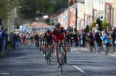 Members of the BMC Racing team ride up a steep road during the second stage of the 2016 Tour de Yorkshire between Otley and Doncaster on April 30, 2016 in Doncaster, England. #TDY #4Yorkshire #rm_112