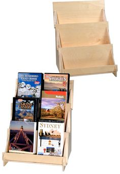 "#4908 12"" 3 Tier Wooden Counter Rack makes a perfect compact book display for small spaces. Each shelf is 12"" wide and 2-1/2"" deep and strong. Snaps together for easy assembly. Ideal for small books and DVDs.."