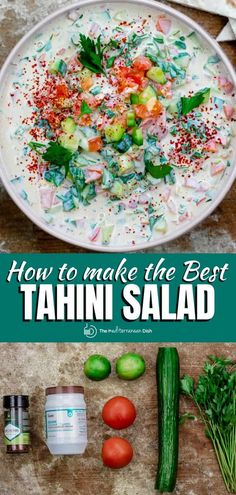 You'll love this simple and delicious Middle Eastern tomato salad with chopped cucumbers, tomatoes, and fresh herbs swimming in lime tahini dressing! with falafel or kabobs or stuffed in a pita. Middle Eastern Salads, Middle Eastern Recipes, Mediterranean Dishes, Mediterranean Diet Recipes, Spinach Recipes, Salad Recipes, Vegetarian Recipes Easy, Healthy Recipes, Delicious Recipes