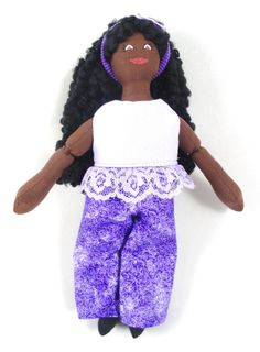 Black Doll in Purple Doll Clothes by JoellesDolls on Etsy