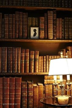 Leather Bound Vintage Books - via So You Want to Be an Interior Designer