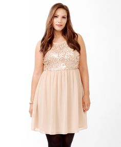 Paillette Bodice Dress | FOREVER21 PLUS - 2031556763 - XL, 1X, and 2x.  :) Very pretty, reminds me of a ballerina costume almost :) Color is Rose. No Longer Available