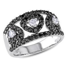 Miadora 14k Gold 1ct TDW Black and Diamond Heart Ring