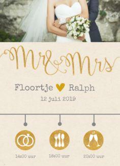 Enkele trouwkaart Mr en Mrs met kraftpapier achtergrond en gouden icoontjes op de tijdlijn.