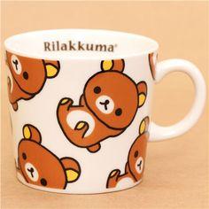Kawaii white Rilakkuma cup with brown bear San-X #kawaii #cute #rilakkuma