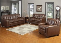 3 Pcs. AC Pacific Edward Bonded Leather Sofa Set