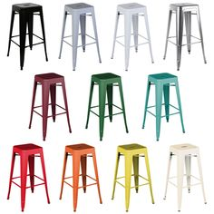 Bentley Home Metal French Tolix Style High Bar Stool Bistro Kitchen - 11 Colours Small Bar Table, High Bar Table, High Bar Stools, High Stool, Bar Tables, Pub Stools, Kitchen Stools, Kitchen Dining, Room Kitchen