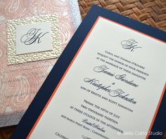 Coral And Navy Wedding Invitation, By Bella Carta Studio
