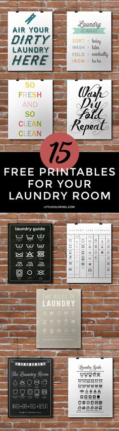15 Laundry Room Free Printables • Little Gold Pixel • In which I dream of decorating my very own laundry room, with pretty @method detegerent and ladder hangers and fun art. Oh, and a washer and dryer I DON'T have to insert coins into.  #stylebymethod #CleverGirls