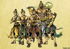 Pandawa lima Art And Illustration, Fantasy Kunst Krieger, Yoga Kunst, Fantasy Art Warrior, Yoga Studio Design, The Legend Of Heroes, Cool Yoga Poses, Samurai Warrior, Yoga Art