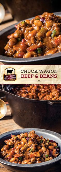 Chuck Wagon Beef and Beans Certified Angus Beef®️ brand Chuck Wagon Beef and Beans is made with the BEST ground chuck and b Best Beef Recipes, Baked Bean Recipes, Barbecue Recipes, Chili Recipes, Meat Recipes, Dinner Recipes, Cooking Recipes, Barbecue Sauce, Navy Bean Recipes