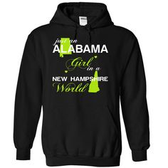 Just An Alabama Girl In A New Hampshire World T-Shirts, Hoodies. BUY IT NOW ==► https://www.sunfrog.com/Valentines/-28ALJustXanhChuoi001-29-Just-An-Alabama-Girl-In-A-New-5FHampshire-World-Black-Hoodie.html?id=41382