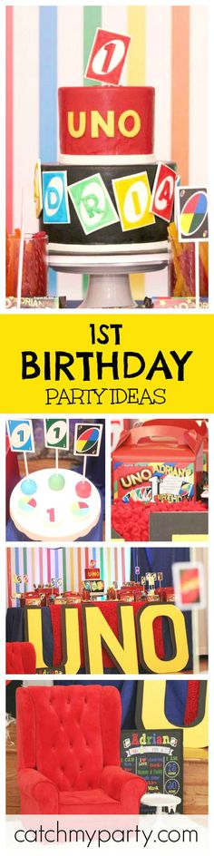 What a cute theme for a 1st birthday party. The Uno cake is awesome! See more party ideas at CatchMyParty.com