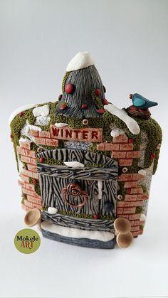 Mokele Art - Winter Fairy door 01 - Polymer clay 2016