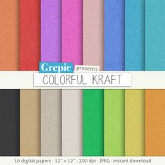 Digital paper texture: COLORFUL KRAFT paper texture by Grepic