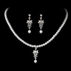 Charming Silver White Flower Girl Wedding Jewelry Set StressAwayBridalShop.com