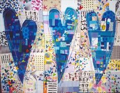 Contemporary art quilts. Like the traditional feel of the fabrics in this one.