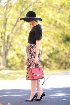 Lady in Leopard: black wool floppy hat, black crop top, leopard pleated midi skirt, Coach red leather bag, Stuart Weitzman black patent Nouveau pump, fall outfit with hat, crop top with high waist midi skirt